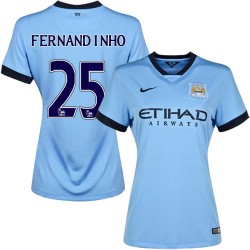 Women's 25 Fernandinho Manchester City FC Jersey - 14/15 Spain Football Club Nike Authentic Sky Blue Home Soccer Short Shirt