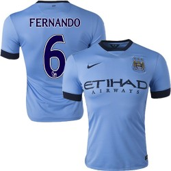 Men's 6 Fernando Manchester City FC Jersey - 14/15 Spain Football Club Nike Authentic Sky Blue Home Soccer Short Shirt