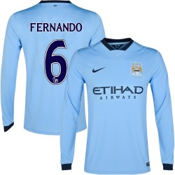 Men's 6 Fernando Manchester City FC Jersey - 14/15 Spain Football Club Nike Replica Sky Blue Home Soccer Long Sleeve Shirt
