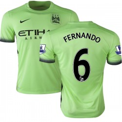 Men's 6 Fernando Manchester City FC Jersey - 15/16 Premier League Club Nike Authentic Light Green Third Soccer Short Shirt