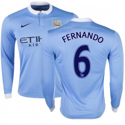 Men's 6 Fernando Manchester City FC Jersey - 15/16 Premier League Club Nike Replica Sky Blue Home Soccer Long Sleeve Shirt