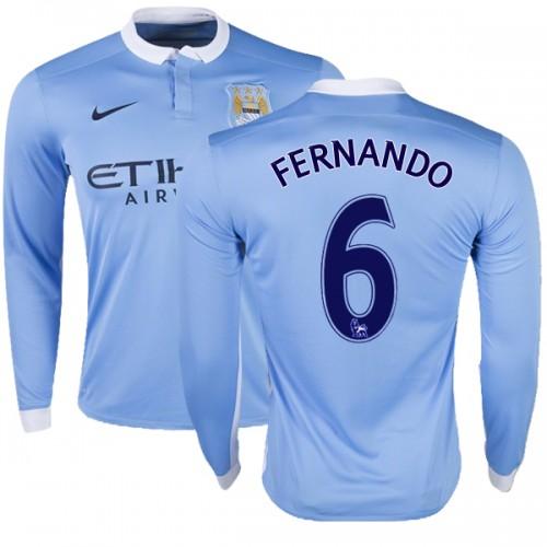 6f389ea8d Men s 6 Fernando Manchester City FC Jersey 15 16 Premier League Club Nike Replica Sky Blue Home Soccer Long Sleeve Shirt.jpg
