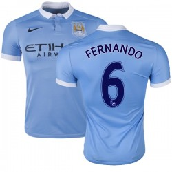 Men's 6 Fernando Manchester City FC Jersey - 15/16 Spain Football Club Nike Authentic Sky Blue Home Soccer Short Shirt