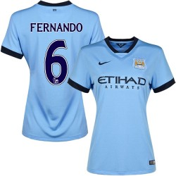 Women's 6 Fernando Manchester City FC Jersey - 14/15 Spain Football Club Nike Authentic Sky Blue Home Soccer Short Shirt
