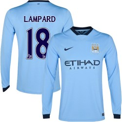 Men's 18 Frank Lampard Manchester City FC Jersey - 14/15 Spain Football Club Nike Authentic Sky Blue Home Soccer Long Sleeve Shi