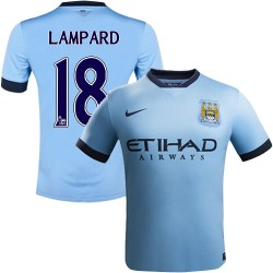 Youth 18 Frank Lampard Manchester City FC Jersey - 14/15 Spain Football Club Nike Replica Sky Blue Home Soccer Short Shirt