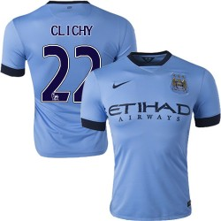 Men's 22 Gael Clichy Manchester City FC Jersey - 14/15 Spain Football Club Nike Authentic Sky Blue Home Soccer Short Shirt