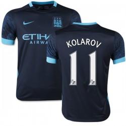 Youth 11 Aleksandar Kolarov Manchester City FC Jersey - 15/16 Spain Football Club Nike Replica Navy Away Soccer Short Shirt