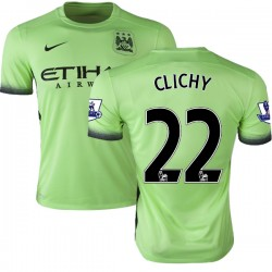 Men's 22 Gael Clichy Manchester City FC Jersey - 15/16 Premier League Club Nike Authentic Light Green Third Soccer Short Shirt