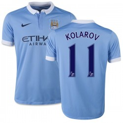 Youth 11 Aleksandar Kolarov Manchester City FC Jersey - 15/16 Spain Football Club Nike Replica Sky Blue Home Soccer Short Shirt