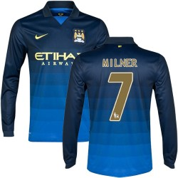 Men's 7 James Milner Manchester City FC Jersey - 14/15 Spain Football Club Nike Authentic Dark Blue Away Soccer Long Sleeve Shir