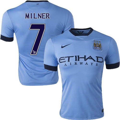 best website f0f56 4b63b Men's 7 James Milner Manchester City FC Jersey - 14/15 Spain Football Club  Nike Authentic Sky Blue Home Soccer Short Shirt