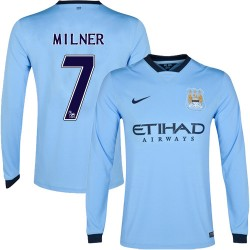 Men's 7 James Milner Manchester City FC Jersey - 14/15 Spain Football Club Nike Replica Sky Blue Home Soccer Long Sleeve Shirt