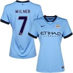 Women's 7 James Milner Manchester City FC Jersey - 14/15 Spain Football Club Nike Replica Sky Blue Home Soccer Short Shirt