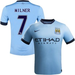 Youth 7 James Milner Manchester City FC Jersey - 14/15 Spain Football Club Nike Authentic Sky Blue Home Soccer Short Shirt