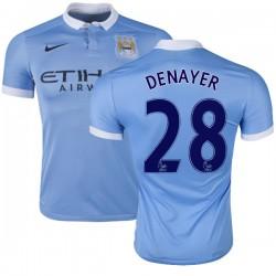 Men's 28 Jason Denayer Manchester City FC Jersey - 15/16 Spain Football Club Nike Authentic Sky Blue Home Soccer Short Shirt