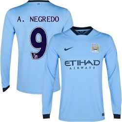 Men's 9 Alvaro Negredo Manchester City FC Jersey - 14/15 Spain Football Club Nike Authentic Sky Blue Home Soccer Long Sleeve Shi