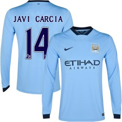 Men's 14 Javi Garcia Manchester City FC Jersey - 14/15 Spain Football Club Nike Authentic Sky Blue Home Soccer Long Sleeve Shirt