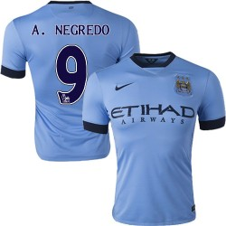 Men's 9 Alvaro Negredo Manchester City FC Jersey - 14/15 Spain Football Club Nike Authentic Sky Blue Home Soccer Short Shirt