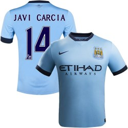 Youth 14 Javi Garcia Manchester City FC Jersey - 14/15 Spain Football Club Nike Authentic Sky Blue Home Soccer Short Shirt