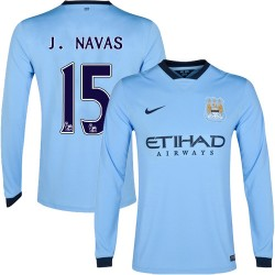 Men's 15 Jesus Navas Manchester City FC Jersey - 14/15 Spain Football Club Nike Authentic Sky Blue Home Soccer Long Sleeve Shirt