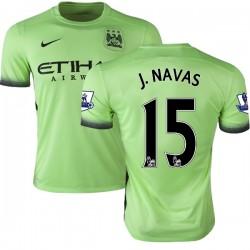 Men's 15 Jesus Navas Manchester City FC Jersey - 15/16 Premier League Club Nike Authentic Light Green Third Soccer Short Shirt