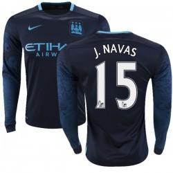 Men's 15 Jesus Navas Manchester City FC Jersey - 15/16 Premier League Club Nike Authentic Navy Away Soccer Long Sleeve Shirt