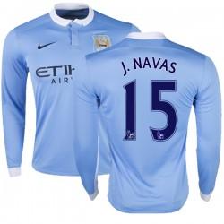 Men's 15 Jesus Navas Manchester City FC Jersey - 15/16 Premier League Club Nike Authentic Sky Blue Home Soccer Long Sleeve Shirt