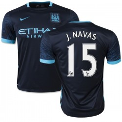Men's 15 Jesus Navas Manchester City FC Jersey - 15/16 Spain Football Club Nike Authentic Navy Away Soccer Short Shirt