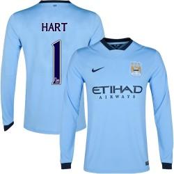 Men's 1 Joe Hart Manchester City FC Jersey - 14/15 Spain Football Club Nike Authentic Sky Blue Home Soccer Long Sleeve Shirt