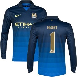Men's 1 Joe Hart Manchester City FC Jersey - 14/15 Spain Football Club Nike Replica Dark Blue Away Soccer Long Sleeve Shirt