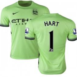 Men's 1 Joe Hart Manchester City FC Jersey - 15/16 Premier League Club Nike Authentic Light Green Third Soccer Short Shirt