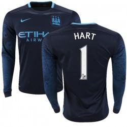 Men's 1 Joe Hart Manchester City FC Jersey - 15/16 Premier League Club Nike Authentic Navy Away Soccer Long Sleeve Shirt