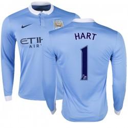 Men's 1 Joe Hart Manchester City FC Jersey - 15/16 Premier League Club Nike Authentic Sky Blue Home Soccer Long Sleeve Shirt