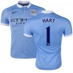 Men's 1 Joe Hart Manchester City FC Jersey - 15/16 Spain Football Club Nike Replica Sky Blue Home Soccer Short Shirt