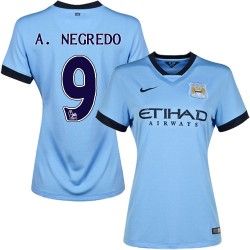 Women's 9 Alvaro Negredo Manchester City FC Jersey - 14/15 Spain Football Club Nike Replica Sky Blue Home Soccer Short Shirt