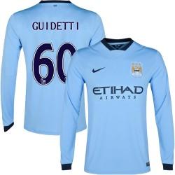 Men's 60 John Guidetti Manchester City FC Jersey - 14/15 Spain Football Club Nike Authentic Sky Blue Home Soccer Long Sleeve Shi
