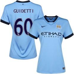 Women's 60 John Guidetti Manchester City FC Jersey - 14/15 Spain Football Club Nike Replica Sky Blue Home Soccer Short Shirt