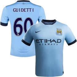 Youth 60 John Guidetti Manchester City FC Jersey - 14/15 Spain Football Club Nike Authentic Sky Blue Home Soccer Short Shirt