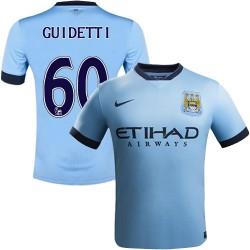Youth 60 John Guidetti Manchester City FC Jersey - 14/15 Spain Football Club Nike Replica Sky Blue Home Soccer Short Shirt