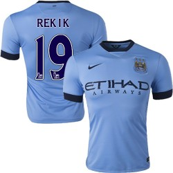 Men's 19 Karim Rekik Manchester City FC Jersey - 14/15 Spain Football Club Nike Authentic Sky Blue Home Soccer Short Shirt