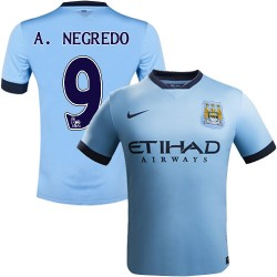 Youth 9 Alvaro Negredo Manchester City FC Jersey - 14/15 Spain Football Club Nike Replica Sky Blue Home Soccer Short Shirt