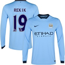 Men's 19 Karim Rekik Manchester City FC Jersey - 14/15 Spain Football Club Nike Replica Sky Blue Home Soccer Long Sleeve Shirt