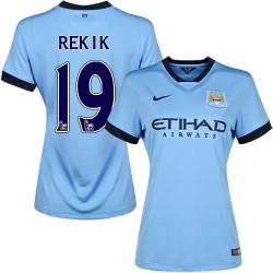Women's 19 Karim Rekik Manchester City FC Jersey - 14/15 Spain Football Club Nike Authentic Sky Blue Home Soccer Short Shirt