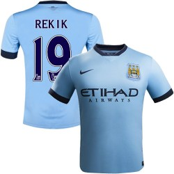 Youth 19 Karim Rekik Manchester City FC Jersey - 14/15 Spain Football Club Nike Authentic Sky Blue Home Soccer Short Shirt