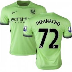Men's 72 Kelechi Iheanacho Manchester City FC Jersey - 15/16 Premier League Club Nike Authentic Light Green Third Soccer Short S