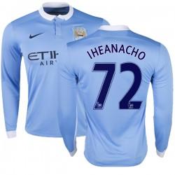 Men's 72 Kelechi Iheanacho Manchester City FC Jersey - 15/16 Premier League Club Nike Authentic Sky Blue Home Soccer Long Sleeve