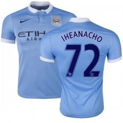 Men's 72 Kelechi Iheanacho Manchester City FC Jersey - 15/16 Spain Football Club Nike Replica Sky Blue Home Soccer Short Shirt