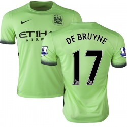 Men's 17 Kevin De Bruyne Manchester City FC Jersey - 15/16 Premier League Club Nike Authentic Light Green Third Soccer Short Shi
