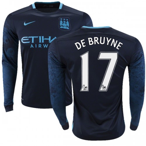 new product cf339 d53d1 Men's 17 Kevin De Bruyne Manchester City FC Jersey - 15/16 Premier League  Club Nike Authentic Navy Away Soccer Long Sleeve Shirt